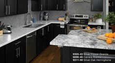 Affordable granite look in your kitchen with 2017 Formica® Residential Collection  9305-42 Silver Flower Granite by Formica Group. Click link to get your free sample! #formicabrand