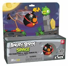 Angry Bird Fire Bomb Bird versus Small Pig Building Set by Angry Birds. $16.62. Includes 27+ parts. Packaged in a box that reflects elements in the game that can be used for play. Perfect for builders ages 5+. From the Manufacturer                Welcome the world of K'NEX and Angry Birds Space. This introductory set features Fire Bomb Brid vs. Small Pig, plus a buildable launcher so you can launch Fire Ball Bird just like the game. Everything included works with other K'NEX ...