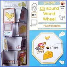 Free CH Sound Word Wheel and foldable worksheet #phonics