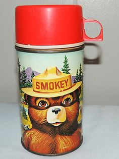 Vintage Metal Lunchbox Thermos Bottle Smokey The Bear w Rules List