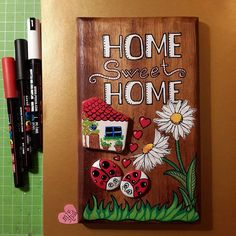 Home sweet home.. #tasboyama #stoneart #stonepainting #sassidipinti #piedraspintadas #paintingstones #illustration #handmade #art #daisy #ladybug