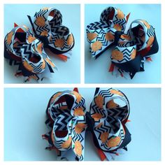 Holiday Halloween 4 boutique hair bow stacked by HairbowsByAsh