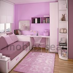 Apartment, Modern Pink White Small Kids Room Design Ideas: Space Saving Designs for a Boy