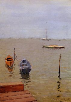 """""""A Stormy Day, Bath Beach,"""" William Merritt Chase, ca. 1888, oil on panel, private collection."""
