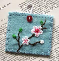 Japanese Cherry Blossom Embroidered Felt Pouch.  via Etsy.