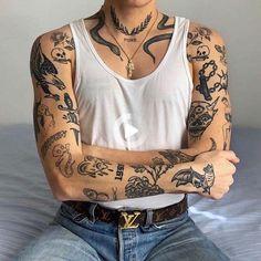 Black Ink Tattoos, Boy Tattoos, Body Art Tattoos, Tribal Tattoos, Tattoos For Guys, Sleeve Tattoos, Full Body Tattoos, Tatoos Men, Torso Tattoos
