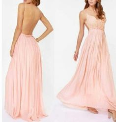 DIYouth.com Chic Sexy V Neckline Backless White Chiffon Prom Dresses Maxi Long Engagement Dress Open Back Evening Dresses