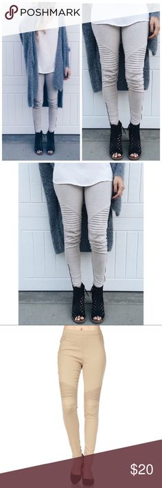 Khaki Moto Biker Pants Legging S/M L/XL Khaki Moto Biker Pants Legging, zipper detail at bottom, 60% Cotton 35% Nylon 5% Spandex.  Also available in navy, khaki, black, dusty mauve, olive, gray, white, and burgundy!  Available in sizes Small/Medium or Large/XLarge.  No Trades, Price Firm unless Bundled. BUNDLE 3 OR MORE ITEMS FOR 15 % OFF Couture Gypsy Pants Leggings