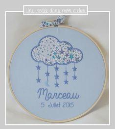 cadre tambour-cadeau de naissance-personnalisé-Liberty adelajda bleu