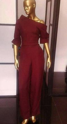 Assymetric jumpsuits,long n short sleeves, available in other colors and can be custom made in African print(Ankara)