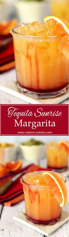 Not just delicious with the flavors of OJ and Grenadine, this Tequila Sunrise Margarita is beautiful too! via Not just delicious with the flavors of OJ and Grenadine, this Tequila Sunrise Margarita is beautiful too! via Creative Culinary Non Alcoholic Drinks, Fun Drinks, Yummy Drinks, Yummy Food, Tasty, Drinks Alcohol, Party Drinks, Cold Drinks, Yummy Yummy