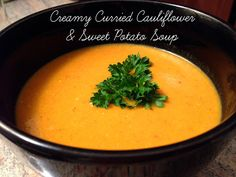 From Leftovers to Newovers: Creamy Curried Cauliflower & Sweet Potato Soup Curried Cauliflower, Group Meals, Thai Red Curry, A Food, Soups, Tasty, Ethnic Recipes, Soup