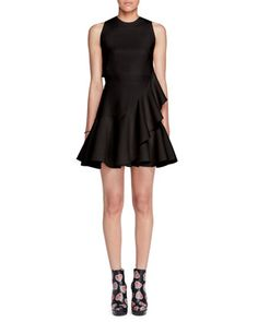 Sleeveless+Ruffle-Trim+Scuba+Dress,+Black+by+Alexander+McQueen+at+Bergdorf+Goodman.
