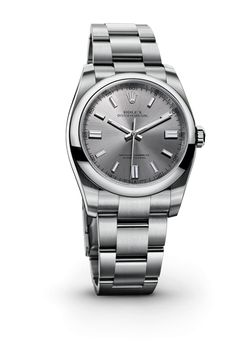 The new Rolex Oyster Perpetual 36 mm in 904L steel with a domed bezel, steel dial and Oyster bracelet. Available at Hingham Jewelers!