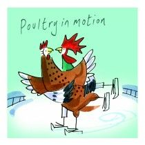 Clinton Banbury Skating Poultry in Motion Chicken Card