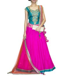 #Fuchsia #Pink & #Teal #Green Embroidered #Silk #Lehenga #Set from #Regalia By #Deepika at #Indianroots