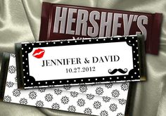 12 Hershey Candy Bar Wrappers, Wedding, Bridal Shower, Moustache, Kiss, Lips, Favors. $8.95, via Etsy.