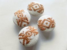 A set of 4 (four) fabric buttons, with ethnic geometric motifs in dark brown color on a cream background.  You can use them for embellishments, home furnishing like pillow decoration, bag, purse decor, ethnic native dress, boho style shirts, or anything else that may come to your mind.