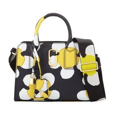 Marc Jacobs Little Big Shot Daisy Saffiano Leather Tote Bag ($450) ❤ liked on Polyvore featuring bags, handbags, tote bags, totes, yellow, stripe tote bag, tote handbags, floral tote bag, white handbag and white tote