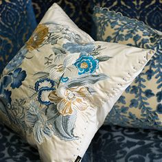 royal collection moser wedgwood - floral embroidered cushion