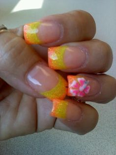 More tropical obsession nails art acrylic fade with yellow and orange and hibiscus flowers 3d