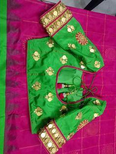 Ideas for dress wedding green neckline Sari Blouse Designs, Fancy Blouse Designs, Blouse Styles, Blouse Patterns, Traditional Blouse Designs, Mirror Work Blouse, Maggam Work Designs, Coin Design, Stylish Blouse Design