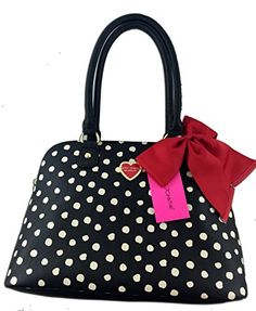 664950ceb45 Betsey Johnson Black Handbag with White Spots and Red Bow...… Black Handbags