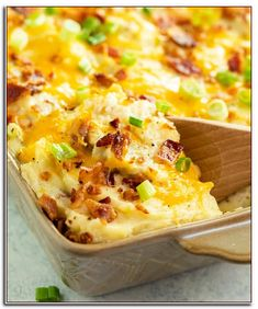 Potato Recipes This twice baked potato casserole is loaded with creamy mashed potatoes and topped with melted cheese, crispy bacon, and sliced green onions. It's a superstar side dish that's easy to make days ahead! Twice Baked Potatoes Casserole, Potatoe Casserole Recipes, Loaded Baked Potatoes, Creamy Mashed Potatoes, Cook Potatoes, Cheesy Potatoes, Loaded Mashed Potato Casserole, Rice Casserole, Twice Baked Potato Casserole Recipe With Cream Cheese