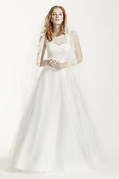 Illusion Lace Tank A-Line Gown with Tulle Skirt 7WG3711