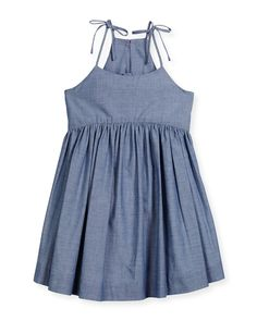 Shop for Sleeveless Chambray Tank Dress, Denim, Size by Milly Minis at ShopStyle. Little Girl Outfits, Kids Outfits, Denim Frocks, Milly Minis, Frock Design, Girls Dresses, Summer Dresses, Tank Dress, Patterns