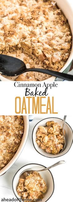 Cinnamon and apple are a perfect pair, and when you combine them with warm, creamy oatmeal, well — you won't be able to stop eating this cinnamon apple baked oatmeal! Plus, the streusel-like topping takes it to a whole new level! | aheadofthyme.com #oatmeal #breakfast #brunch #vegetarian via @aheadofthyme