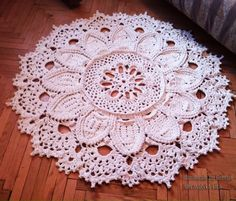 SALE Crochet rug 3D 57 in. Bed side  and Baby rug Round floor lace living room…