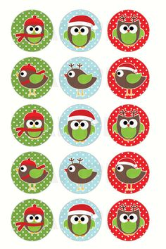 Christmas Owls and Birds Bottle Cap Images - 4x6 Digital Collage Sheet - 1 Inch Circles for Bottlecaps, Hair Bow Centers, & More. $1.25, via Etsy.