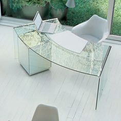 rounded glass writing desk