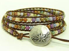 Purple Mix Beaded Leather Wrap Bracelet, Triple Wrap Bracelet, Boho Jewelry