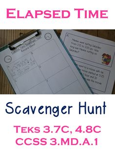 Your students will love this scavenger hunt. Let them work individually or in pairs to find the problems around you room. The problems involve finding elapsed time, adding time intervals, subtracting time intervals, etc.  I have my students use a time line or number line to solve the problems, but the record sheet is open ended to fit any other strategies you  may have. TEKS 3.7C, Teks 4.8C, and CCSS 3.MD.A.1