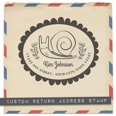 Custom Return Address Rubber Stamp: Snail Oval by isabellsumbrella