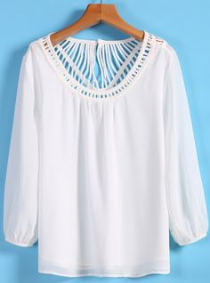 Shop White Long Sleeve Hollow Chiffon Blouse online. Sheinside offers White Long Sleeve Hollow Chiffon Blouse & more to fit your fashionable needs. Free Shipping Worldwide!