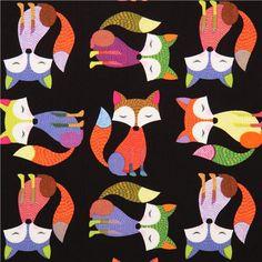 beautiful black fox animal fabric by Timeless Treasures 1
