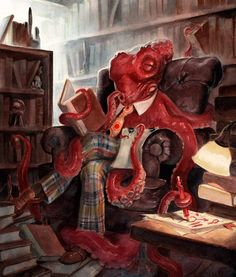 I love the fantasy pictures of reading, like this one of an octopus from Scott Brundage.