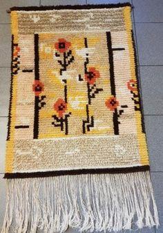 Funkkisryijy, hyväkuntoinen Rya Rug, Wool Rug, Florals, Paisley, Art Deco, Textiles, Rugs, Wall, Inspiration