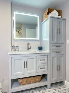 Stoneham Family Bathroom Gets a Major Upgrade | McGuire + Co. Kitchen & Bath Wakefield, MA Bathroom Gallery, Bathroom Photos, Bathroom Ideas, Gray And White Bathroom, Gray Vanity, Complete Bathrooms, Linen Cabinet, Glass Shower Doors, Family Bathroom