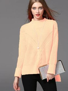 Fashion Beautiful Solid Color Band Collar Long Sleeve Sweater