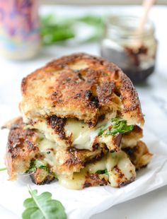 Havarti and Arugula Grilled Cheese with Smoky Bacon Jam and Triple Herb Butter
