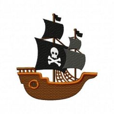 Pirate Ship  Embroidery Design for Machine by EmbroideryDesignClub