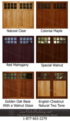 Wood Overhead Garage Door Stain Ideas...  Need help deciding on a stain color for your garage door here are a few stain color ideas to compare
