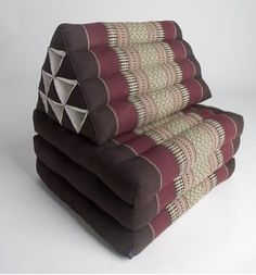 Foldout Triangle Thai Cushion, 67x21x3 inches, Kapok, Brown Red by Tungyas on Etsy