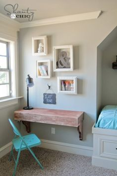 Built in wall desk