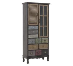 Bloomsbury Market Wooden vitrine/cabinet, in multi color. An excellence decoration idea that will showcase your special style. Tall Cabinet Storage, Locker Storage, Coat Paint, Brown Beige, Dark Brown, Distressed Painting, Mdf Wood, Cabinet Design, Types Of Wood
