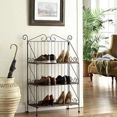 Purchase Farmington 3 Tier Folding Weave/Black Iron Shelf from on OpenSky. Share and compare all Home. Shoe Rack For Home, Shoe Rack With Shelf, Metal Shoe Rack, Shoe Racks, Corner Shelving Unit, Portable Closet, Iron Shelf, Apartment Furniture, Shoe Storage